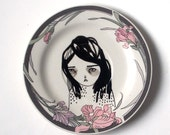 hand painted plate - girl plate