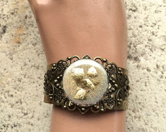 Cuff Bracelet, Bling , Victorian Jewelry, Blingy Cuff, Retro Bracelet, Gold Leaf Bracelet, Boho Jewelry, Boho Cuff , one-of-a-kind