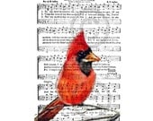 MY MOTHER Red CardinaL Bird  Lovely  Departed Mother  Art Print  Religious Hymn 8 X 10F R E E  Shipping