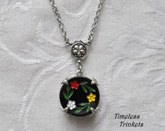Flower Waltz, Vintage German Glass Button Necklace