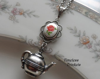 Time for Tea, Cameo and Teapot Necklace- Rose Garden
