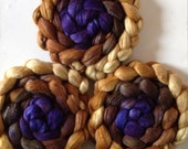 Hand Dyed roving for spinning or felting 3.6ozs polwarth mulberry silk 70/30 pre order
