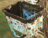 Cupcakes Galore Bike Basket Liner and Purse in One in Blue