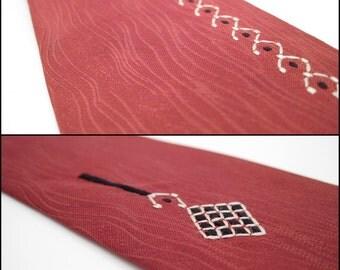 Vintage Neck Tie - Wood Grain Necktie - Skinny - Woodgrain - 1940s Necktie - embroidered geometric