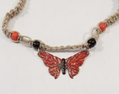Butterfly necklace Copper enameled orange and red butterfly / hemp necklace