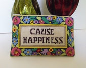 Cross Stitch Zippered Pouch Purse Cause Happiness