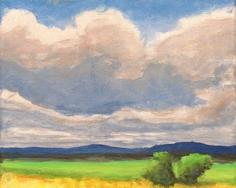 Original Landscape Painting on Canvas Clouds Oak Trees Hills Fields 8x8 Sky Painting