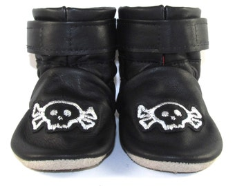 Soft Sole, Black Reclaimed Leather, Baby Boots, Baby Shoes, Skulls, 6 to 12 Month