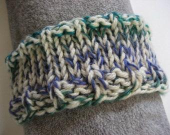 Hand Knit Headband, White Blue Green Teal, Wool Blend Yarn, Dreadband Hairband Tube Hat Ear Warmer Dread Wrap Sweatband Dreadlock