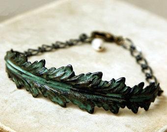 Verdigris Leaf Cuff Bracelet, Adjustable, Rustic, Big Leaf Bracelet