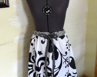 Black White Skirt, Upcycled Clothing, Satiny Skirt, Handmade Skirt, Unique Clothing, Recycled Pillowcase, Drawstring Waist, Unique Designs