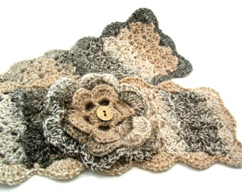 Made to Order Crochet Scarflette with Irish Rose in Earth Tones