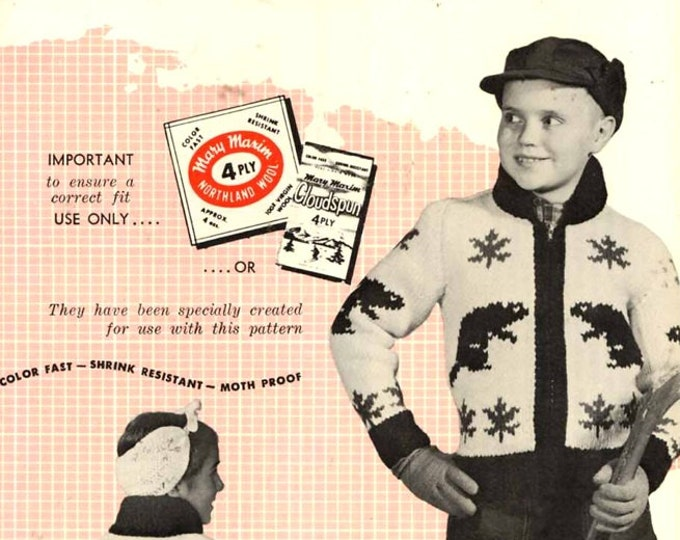 Canadian Beaver Cardigan sweater for kids knitting pattern Mary Maxim 456 pattern childrens graph knitting Vintage 50s midcentury Sz 8 to 12