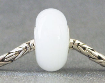 White Lampwork Glass Euro Charm Bead Snow Moonstone