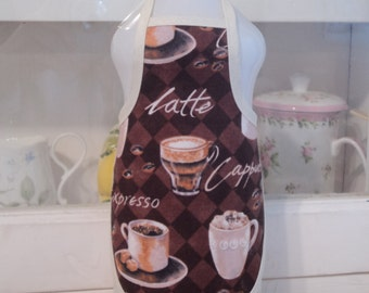 Coffee Expresso Cappuccino . Dish Soap Bottle Apron - fits 25 oz.
