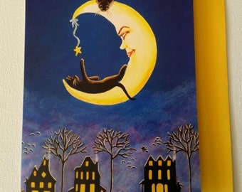 "Halloween frame-able greeting card titled ""Salem's Star"""