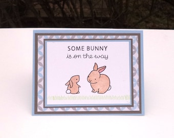 Baby Boy Announcement Card, New Baby Card, Baby Shower Greeting Card, Blue and Gray with Brown Bunnies, Some Bunny is on the Way Sentiment