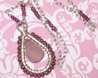 Pink Chalecedony and Fuchsia Pearls Sterling Silver Wirewrapped Pendant Necklace