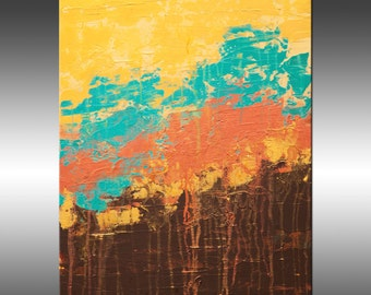 Lithosphere 111 - Art Painting, Original Abstract Painting, Modern Art, Copper Turquoise Gold Canvas Wall Art, Contemporary Art, Paintings
