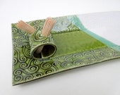 Green and White Textured Whimsical Swirl Handmade Ceramic Pottery Rectangular Appetizer Serving Toothpick Plate