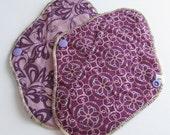 Set of 2 Cloth Mama Pads Pantyliners 8 inch - Purple Swirls Print FREE Shipping