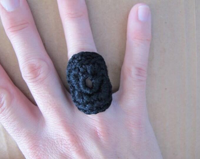 Fiberpunk™ Ring - Jet Black - Fits Sizes 6 and 7 - Cotton