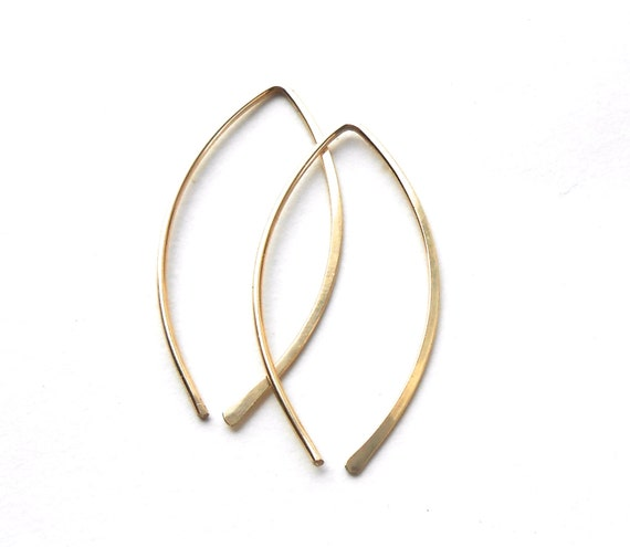 Gold Hoop Earrings, Gold Filled Marquise Leaf Shaped Hoops, Minimalist Wire Jewelry