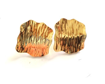 Gold Earrings Avant Garde Vintage 80s GLEAMING Hip Hop