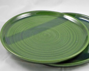 Regular Dinner Plate One Green Pottery Ceramic Stoneware Plate