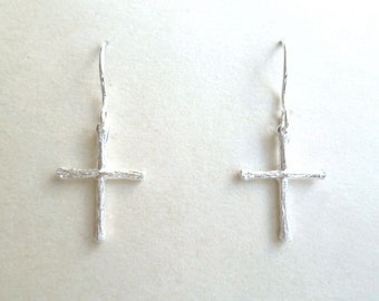 Cross Earrings - Charity - Sterling Silver - Tiny Twigs - Religious - Miniature - Cross Jewelry - Gift for Her - Christmas - Holiday Gift