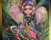 """Original fantasy fine art print  """"My little fairy Jemima"""". Orchard, Birds, flowers, butterflies, magic creatures. Best wall art room decor"""