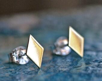 tiny diamond stud earrings posts brushed gold brass simple modern minimalist DIAMOND STUDS