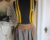 Vintage Yellow and Blue Stripe Stretchy Suspenders with Metal Clips Unisex