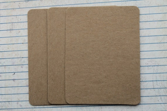 3 bare chipboard die cuts rounded corner rectangle diecuts 4 inches w x 3 inches h