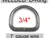 "20 PIECES - 3/4"" - HEAVY WELDED, 3/4 inch, D Ring, 7 Gauge, Heavy Duty Steel, Nickel Plated"