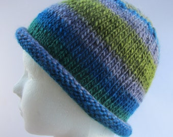 Green Beanie Knit, Green Beanie Wool, Green Beanie, Wool Beanie, Blue Beanie Knit, Knit Striped Beanie, Blue Beanie, Teen Knit Beanie
