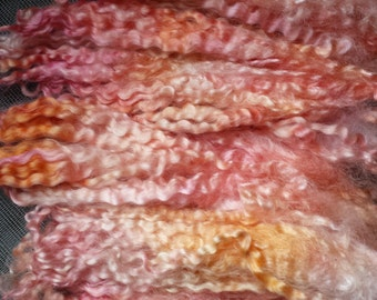 Wool locks sale buy 3 get 1 free Salmon separate curls hand-dyed 1 oz.