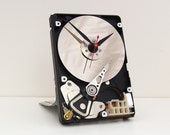 Computer parts clock, steampunk clock, Geek clock gift, hard drive clock,  upcycled,  geek lovers gift, Recycled Computer Hard Drive Clock,