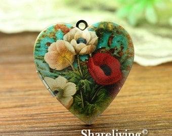1pcs Vintage Flower Heart Locket Necklace, Antique Bronze Brass Locket, Photo Heart Locket Charm Pendant - HLK902K