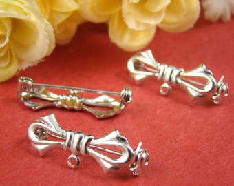 4Pcs Nickel Free - High Quality Silver Brass Bow Safety Pin / Brooch HA525