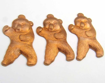 Copper bear stampings, detailed standing 34mm, 3 pcs