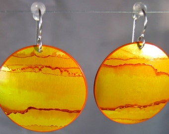 Handpainted Earrings - Large Ovals - Yellow Gold - Lightweight - Sterling Silver Earwires