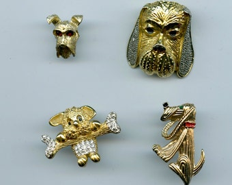 Vintage Whimsical Dog Theme Brooches Set Of 4