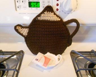 Tea Pot Pot holder / hot pad / trivet crocheted in brown and tan