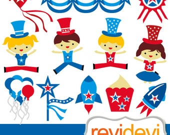 Fourth of July clip art commercial, instant download - digital clipart independence day, red blue kids jumping, rockets, banners 08107