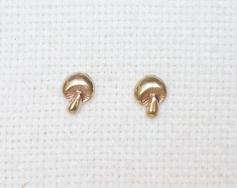 Teeny Tiniest Gold Mushroom Fungus Stud Earrings 925 Sterling Silver Posts,Bridesmaid Gift,Everyday Jewelry,Simply Jewelry