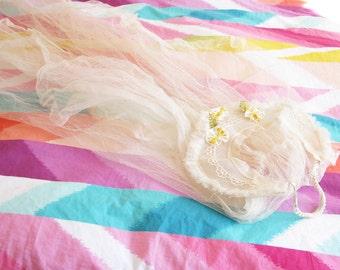 Her Happiest Day...Aged Vintage Net Wedding Veil...Ribbonwork Flowers
