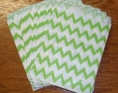 Green Chevron Favor Bags 5 x 6 - Set of 50  Zig Zag