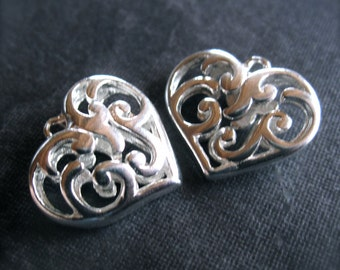 2 Solid Sterling Silver fillagree heart charms - 15mm X 13mm