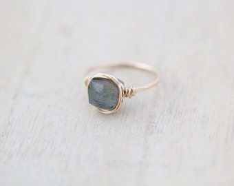 Labradorite Cocktail Ring, Gold, Rose Gold, Sterling Silver Gemstone Ring, Blue Flash Bezel Wrapped Stone